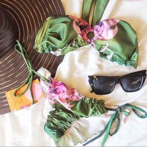 Maya Swimwear Pink Green Scrunch 2 piece bikini